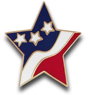 Confederate Or Union Flag Star Badge